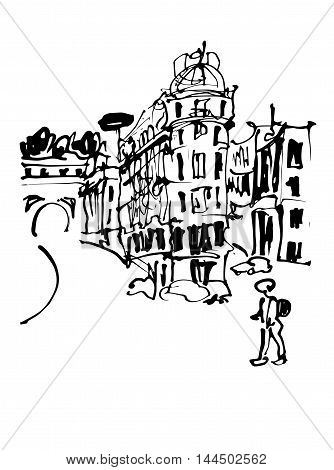 black and white sketch hand drawing of Rome Italy famous cityscape, travel card, vector illustration