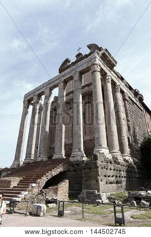 The Temple of Antoninus and Faustina is an ancient Roman temple in Rome adapted to the catholic church of San Lorenzo in Miranda. It stands in the Forum Romanum on the Via Sacra. Rome Italy.