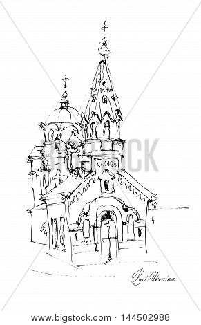 black and white freehand sketch drawing of Church in Podol Kyiv Ukraine, pleinair artwork vector illustration