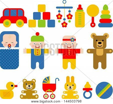 set of icons for baby, vector cartoon illustration
