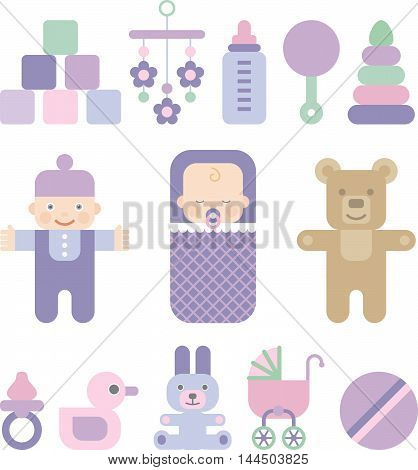 set of flat icons for kids, vector cartoon illustration