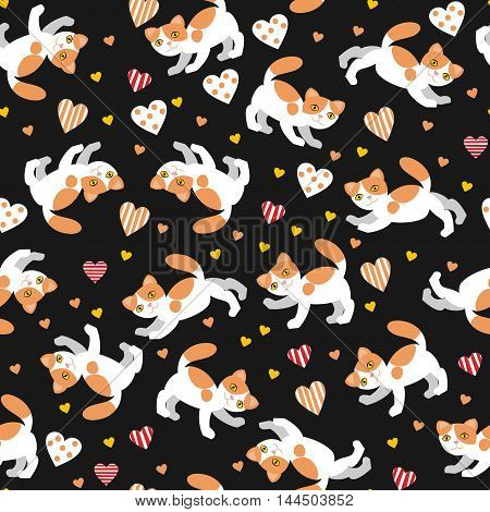 background with cats and hearts for scrapbook