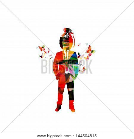 Colorful hipster vector illustration with butterflies. Bomb head man design for fashion extravaganza, urban city looks, fashion trendsetter, city fashion, new and unexpected