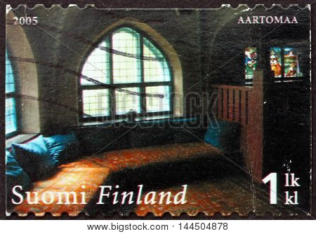FINLAND - CIRCA 2005: a stamp printed in Finland shows Dining Room Hvittrask Home and Studio of Architects Saarinen Lindgren and Gesellius circa 2005