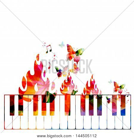 Creative music concept vector illustration, music instruments, piano keyboard on fire, flower ornamented elements. Design for poster, card, brochure, flyer, concert, music festival, music shop