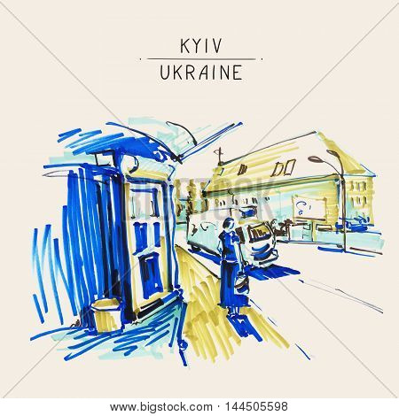 urban sketch markers drawing of street city Kyiv Ukraine with busstation, road and women waiting bus