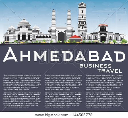 Ahmedabad Skyline with Gray Buildings, Blue Sky and Copy Space. Vector Illustration. Business Travel and Tourism Concept with Historic Buildings. Image for Presentation Banner Placard and Web Site.