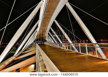 modern architecture the bridge on a background night city