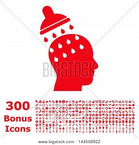 Brain Washing icon with 300 bonus icons. Vector illustration style is flat iconic symbols, red color, white background.