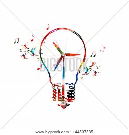 Colorful windmill turbine in light bulb vector illustration. Design for ecology awareness, alternative renewable green energy, clean energy eco bulb, sustainability, environmentally friendly concept