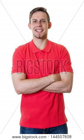 Blonde caucasian guy with red shirt and crossed arms on an isolated white background for cut out