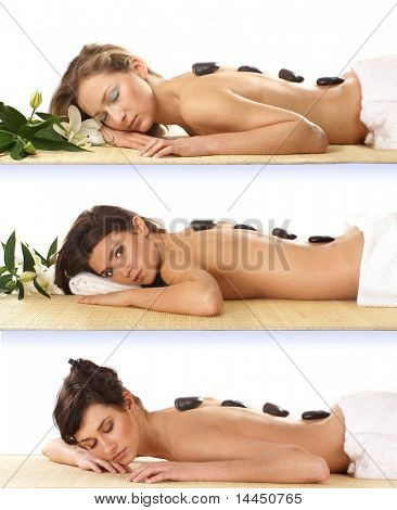 Three attractive women getting spa treatment isolated on white