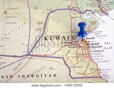 Kuwait With Pushpin Illustrative Editorial