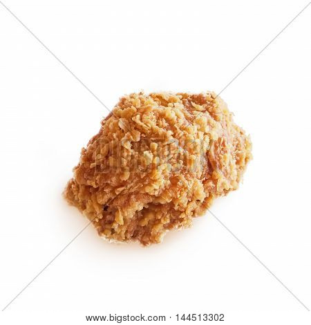 Fried chicken isolated on white as background.