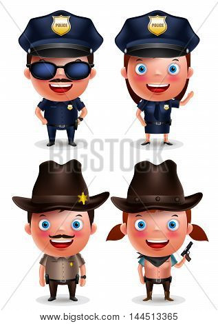 Policeman, policewoman, sheriff and cowgirl vector characters set with friendly smile with uniform isolated in white. Vector illustration.