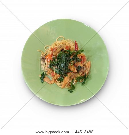 Pasta and meatballs. Top view as background isolate on white