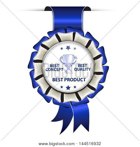 Best Product, Best concept, best Quality - award hanging ribbon with champions cup.