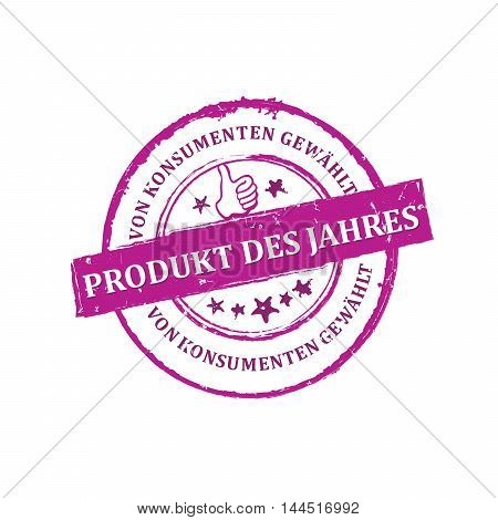 Consumers' Choice Award: Product of the year (German language: Produkt des Jahres, von konsumenten gewahlt) - pink grunge stamp / label, for print. Grunge layer is applied exactly on the colored stamp