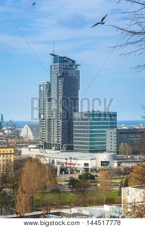 GDYNIA, POLAND - APRIL 8, 2016: Modern architecture of Sea Towers skyscraper in Gdynia. Sea Towers is the 10th tallest building in Poland (143,6 meters) with 38 floors.