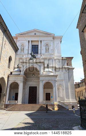 Church Bergamo Cathedral In Citta Alta, Italy