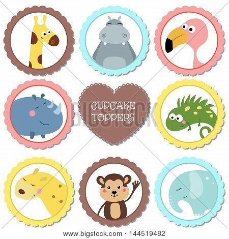 Cupcake toppers for Birthday. Collection of wild animals.