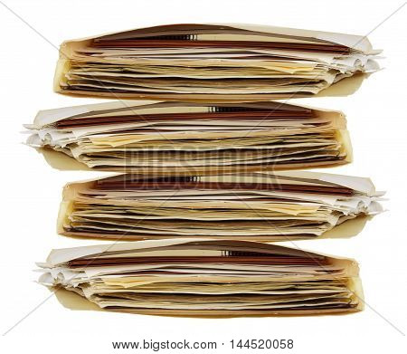 Stack of  Documents in Folders on White Background