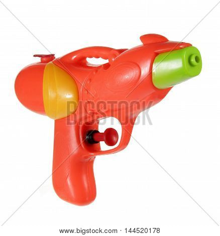Plastic Toy Water Pistol on White Background