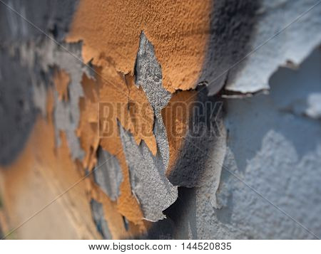 Closeup of Flaky paint 1 on cement wall