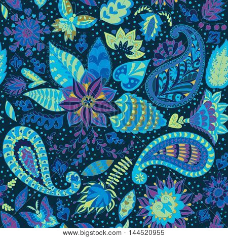 Seamless Abstract Floral Pattern with Paisley.  Fashion Ornament for Fabric and Wrapping Paper.