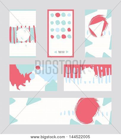 Bright abstract business cards hand drawn with brush and stripes brush blobs and smears. Pink teal blue accents. Vector illustration set good for print or presentation design with place for text.