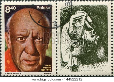 Poland - circa 1981: a stamp Poland circa 1981, dedicated to Pablo Picasso's birth centenary, circa 1981