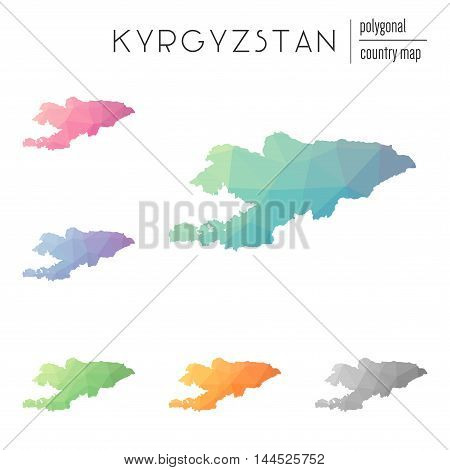Set Of Vector Polygonal Kyrgyzstan Maps. Bright Gradient Map Of Country In Low Poly Style. Multicolo