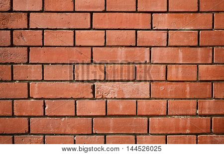 Red brick wall texture background or wallpaper pattern. Loft backdrop.