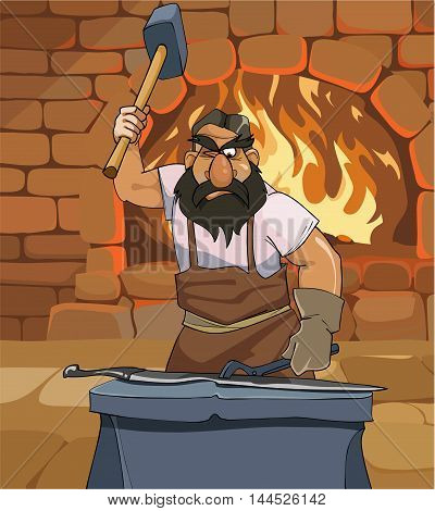 cartoon male blacksmith forges a sword in the smithy