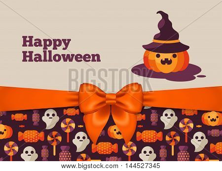 Halloween Postcard Design with Orange Silky Bow Ribbon and Pattern. Vector Illustration. Pumpkin in Witch Hat Cute Character.