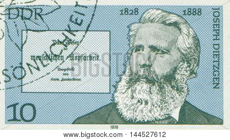 EAST GERMANY - CIRCA 1978: Stamp printed in East Germany showing Joseph Dietzgen, the Marxist philosopher, circa 1978