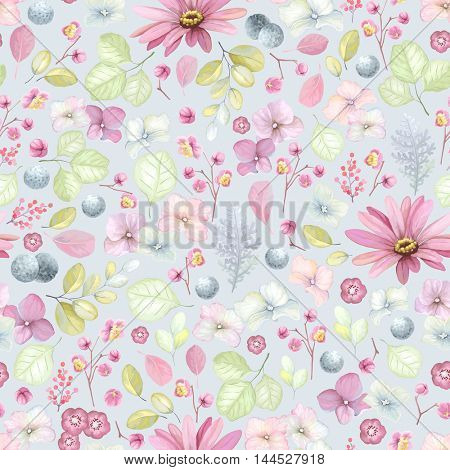 Rustic floral pattern with flowers, inflorescence hydrangea, leaves and branches. Vector illustration in vintage style on gray-blue background.