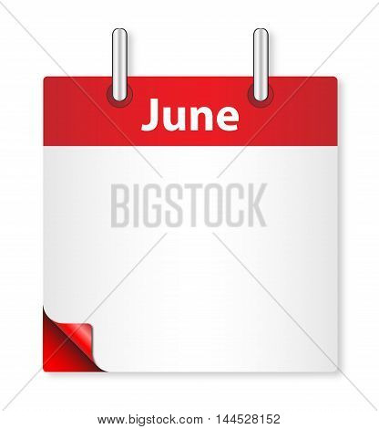 A calender date offering a blank June page over white