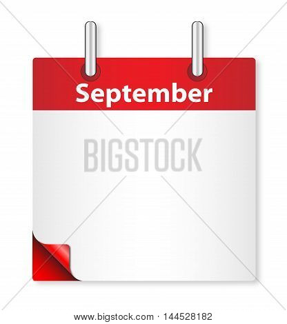 A calender date offering a blank September page over white