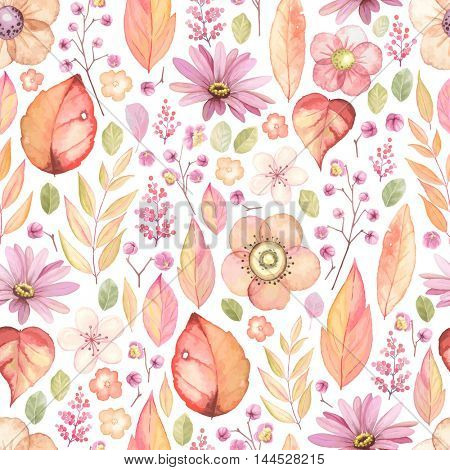 Rustic floral pattern with flowers, leaves and branches. Vector autumn background, seamless illustration in vintage style.