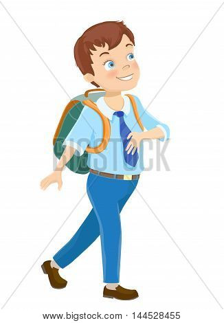 Young boy wearing a backpack walking to school on white. Cartoon vector illustration
