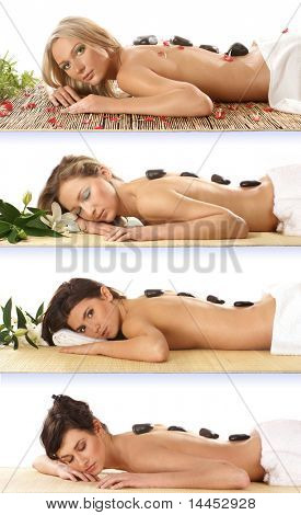Collection of attractive women getting spa treatment isolated on white