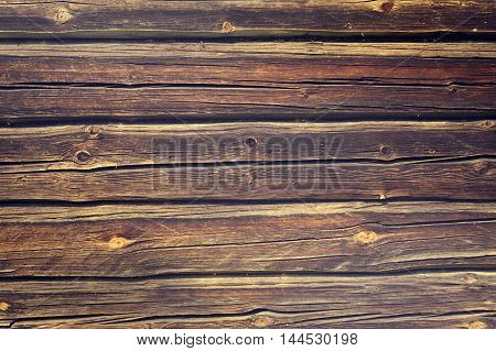 Aged old vintage blue yellow wooden wood logs wall background