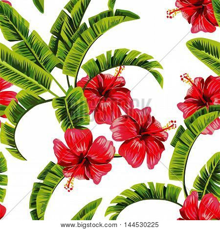 Exotic tropical plants banana tree leaves and flower hibiscus tropical seamless vector pattern background. Painted by hand nature floral wallpaper