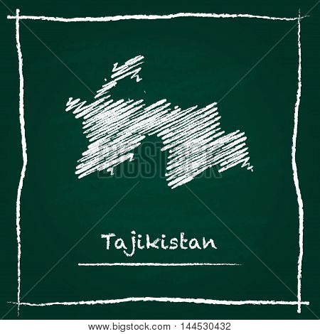 Tajikistan Outline Vector Map Hand Drawn With Chalk On A Green Blackboard. Chalkboard Scribble In Ch