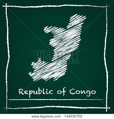 Congo Outline Vector Map Hand Drawn With Chalk On A Green Blackboard. Chalkboard Scribble In Childis