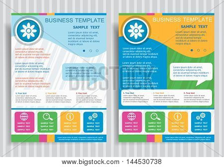 Pictograph Of Flower  On Vector Brochure Flyer Design Layout Template