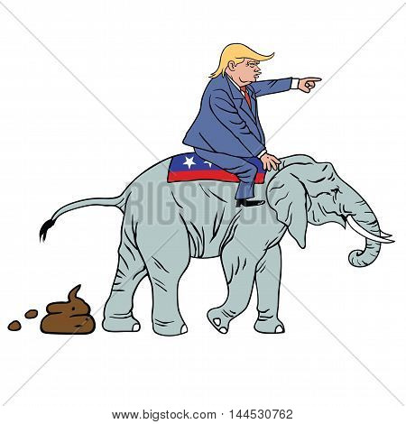 Donald Trump Riding Republican Elephant Caricature Vector Illustration poster