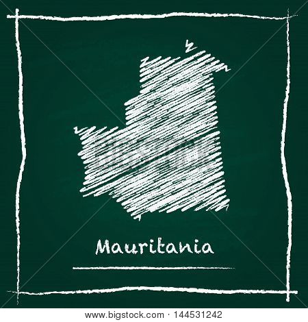 Mauritania Outline Vector Map Hand Drawn With Chalk On A Green Blackboard. Chalkboard Scribble In Ch