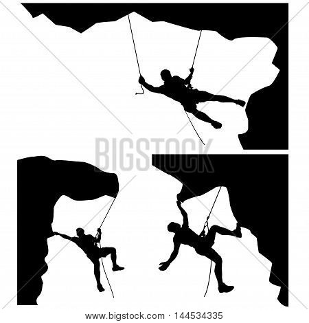 illustration of set of male rock climber silhouette in differrent situations on white background